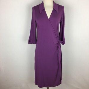 Boden Purple Knit Wrap Dress size 14